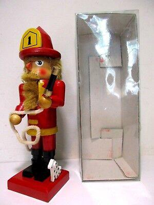 """9"""" Christmas Wooden Fireman Firefighter Nutcracker Figure With Dalmatian Dog"""