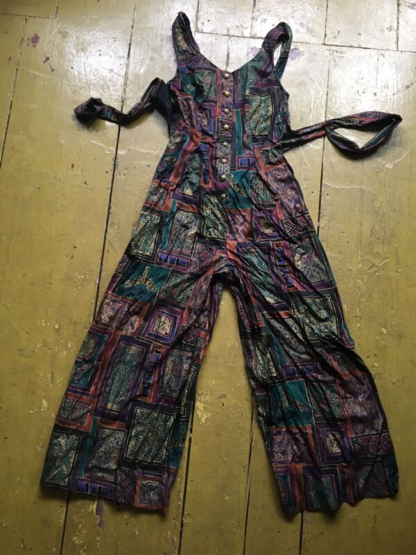 Vintage 90s Jumpsuit S Palazzo Rayon Fitted Funky Boho All That Jazz 1990s VTG