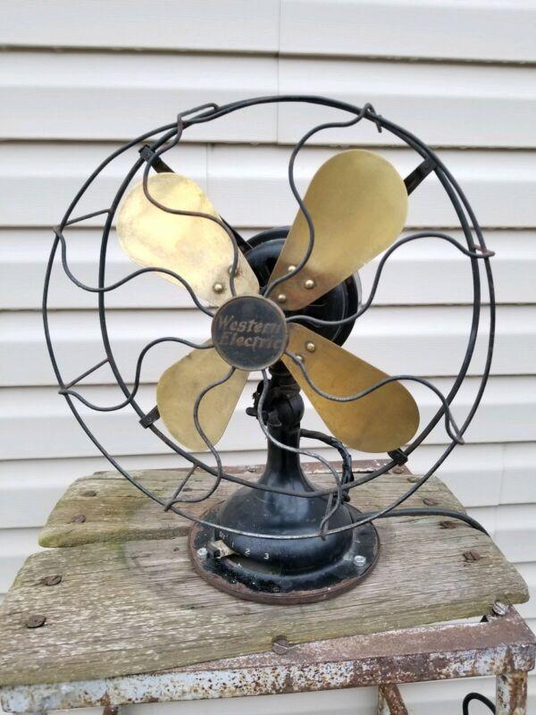 Vintage Western Electric Brass Blade Oscillating Electric Fan 12
