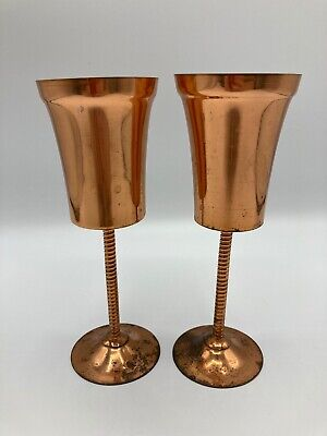 Pair Of Vintage Zambian Copperware Twisted Stem Goblets Wine Glasses