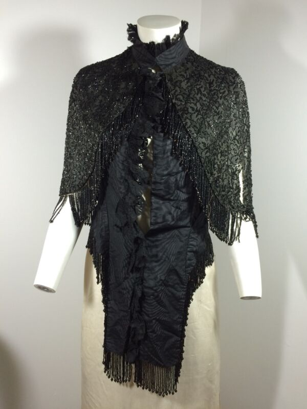 Victorian Black Jet Bead Cape Capelet Goth Lace Beads For Craft Project