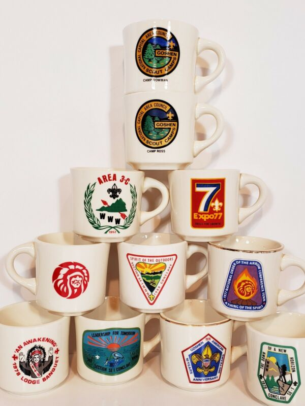 Vintage Boy Scouts Order Of The Arrow Lot Of 11 Coffee Cups Conclave Goshen Expo