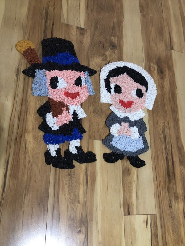 Thanksgiving DECORATION boy/girl Pilgrims Melted Plastic Popcorn DOOR GREETERS