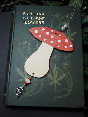 Wooden Fly Agaric & Fairy Yule Ornament - Pagan, Winter Solstice, Christmas Tree ()
