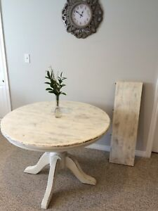 Solid Wood Refinished Table With Leaf