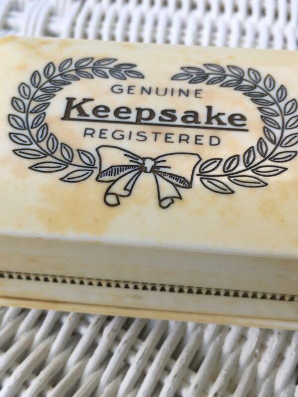 """Vintage GENUINE KEEPSAKE Celluloid Double RING BOX Blue Velvet 2"""" x 3"""""""