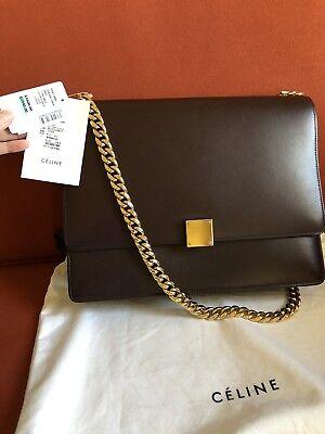 NWT Authentic Celine Burgundy Leather Medium Case Box Bag $4900