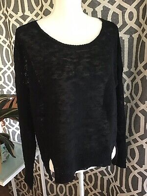 Eileen Fisher Organic Linen And Cotton Slub Black Sweater M