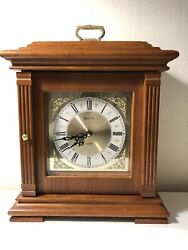Bulova Mantel Clock B1883 Francesca Solid Oak Jewelry Box Storage w/ Mirror
