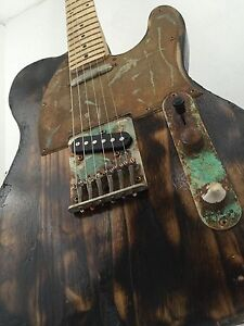 Telecaster-Heavy-Relic-Patina-Burned-Rusty-Steampunk-Custom-Electric-Guitar