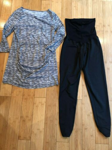 MOTHERHOOD MATERNITY ~ Gray Top/Black Leggings Comfortable Outfit ~ SZ M