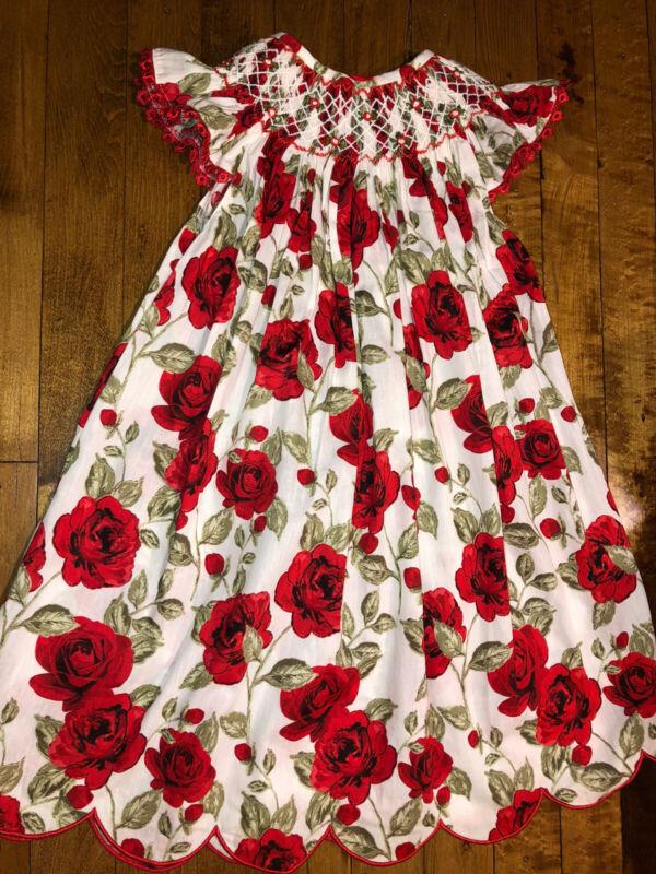 Girls Vintage Rose Floral Smocked Flutter Dress Size 5