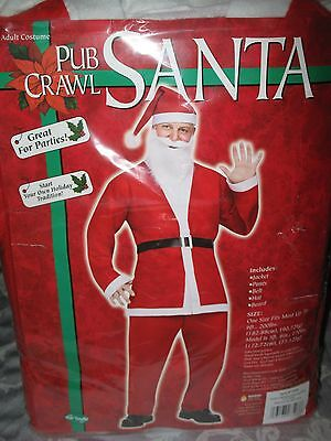 PUB CRAWL SANTA SUIT - 5 PIECE OUTFIT - ADULT COSTUME - BRAND NEW SEALED  (Seal Costume Adults)