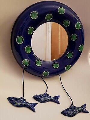 Beach Hut Style Bathroom/Hallway Porcelain Wall Mirror With Hanging (Beach Hut Mirror)