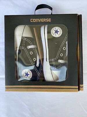 Converse First Star Baby Shoes Black Canvas Size 4, 9-12 Months