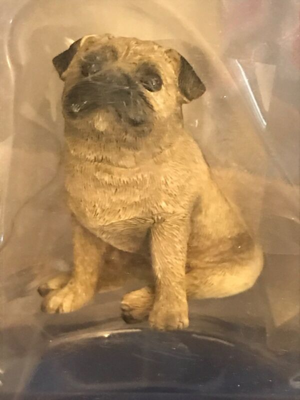 """Hand Painted Sandicast """"Small Size"""" Sitting Fawn Pug Dog Sculpture"""