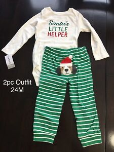 Santa's Little Helper Outfit 24M With Tags
