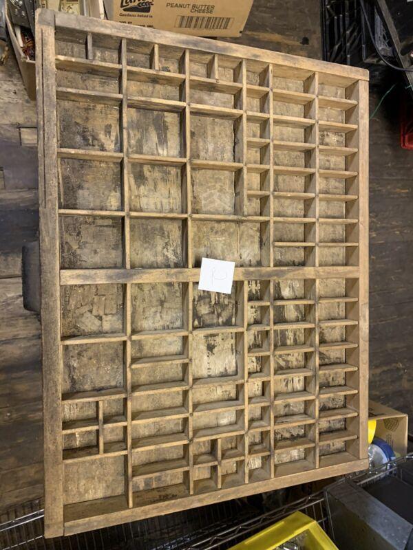 Vintage Hamilton Printer Type Set Drawer Wood Cabinet Tray Display 17x22