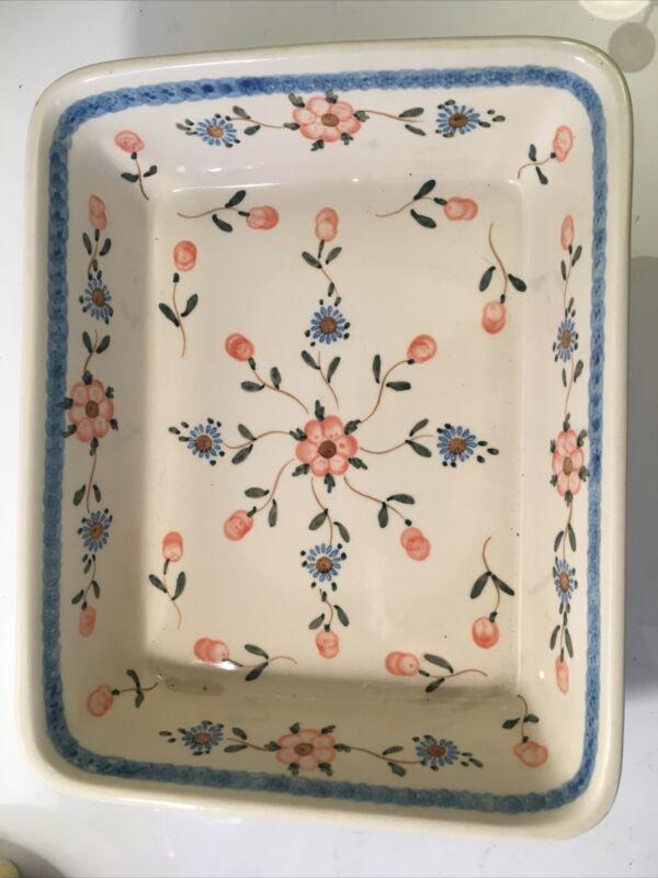 Boleslawiec Polish Pottery Rectangular Floral Baking Dish Casserole Poland