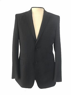 NWT $1260 VERSACE COLLECTION Black Stripe Wool 2Btn Flat Front Suit 48 US 38R