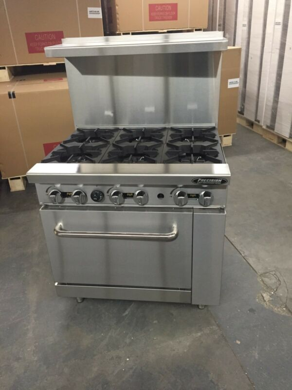 "36"" Commercial 6 Burner Gas Stove Restaurant Range Nat Gas Range Brand New Heavy"