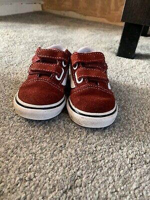 Vans Infant Toddler Boys Trainers / Shoes Size 5 Burgundy And White