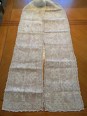 "Antique Runner Embroidered Linen 100"" x 10"" Taupe Table Dresser Scarf Embroidery"