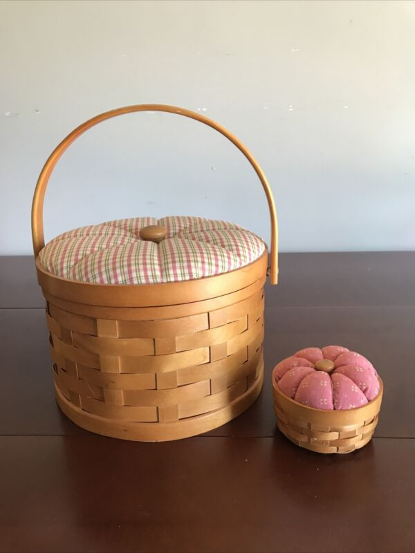 Vtg Round Sewing Basket Wooden Weave Cushioned Top W/ Lid Handle & Pincushion