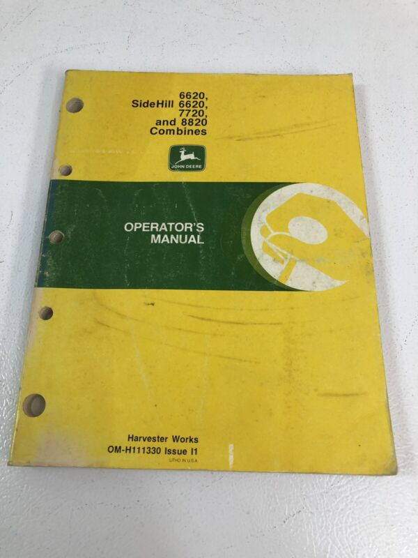 John Deere JD 6620 - 6620 Sidehill - 7720 and 8820 Combine Operators Manual