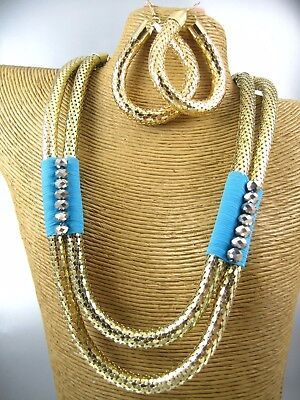 Chain Gold Tone Jewelry Set (Elegant Gold Tone Chain Necklace Earring Set Costume Metal Fashion)