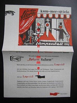 Faltblatt  Lumpenball in der Flora Köln Karneval 1959 Alois Faust Walter Dick ua