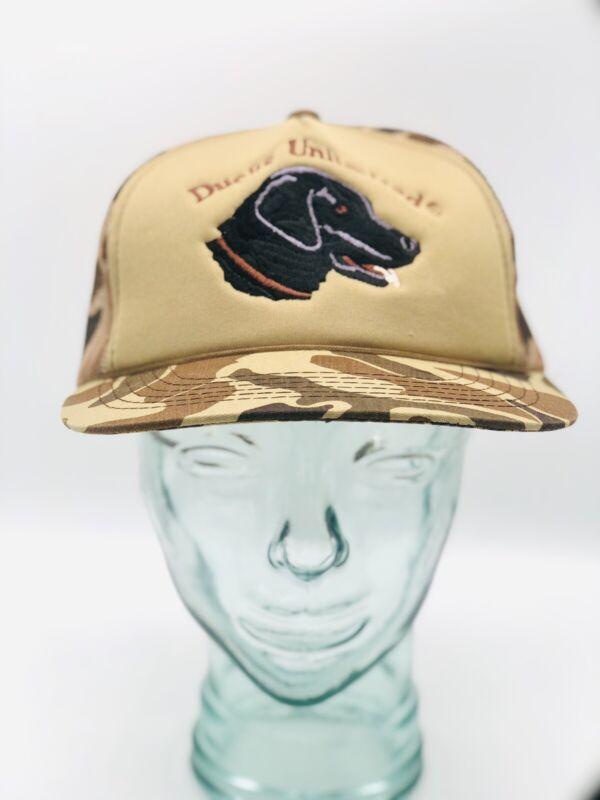 Ducks Unlimited Brown Camo Mesh Trucker Snapback Hat Hunting Dog Vintage Rare