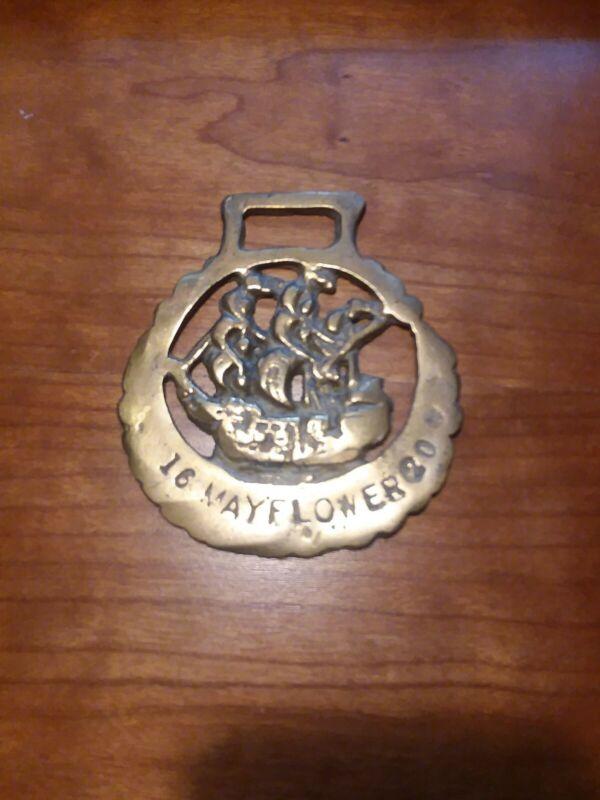 Vintage Brass Medallion Harness Tack Bridle Ornament Mayflower 1620