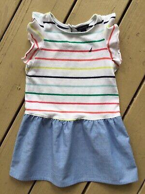 Nautica Girls Dress Size 3T Light Blue White Red Green Yellow Sleeveless Striped