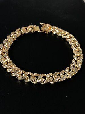 "Mens ICY Cuban Miami Link 8.5"" Bracelet 14k Gold Plated 10mm 5ct Lab Diamonds"