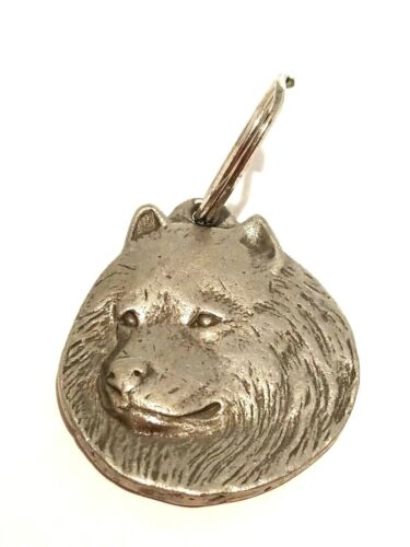 Spitz Keychain Vintage 1982 Rawcliffe Pewter Key Ring I Love My Dog