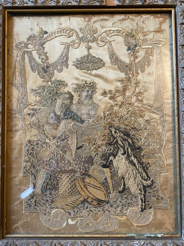 Grotesque Detailed 17th Century Stumpwork Emroidery Gold Silk On Gold Silk