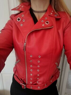 Faux Leather Jacket red Soft Size 10 Stud Eyelet corset goth Punk Rock Biker