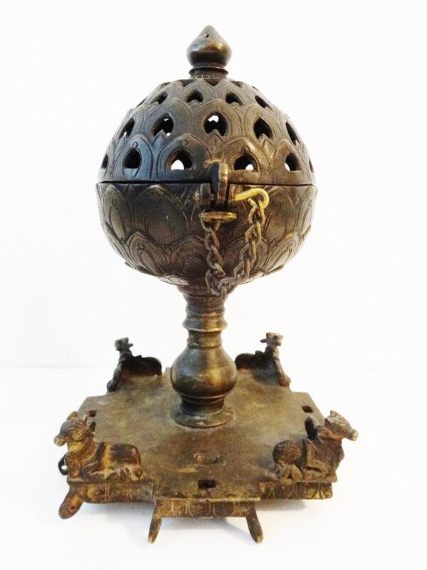 Superb  Rare 19th C  Bronze Incense Burner India