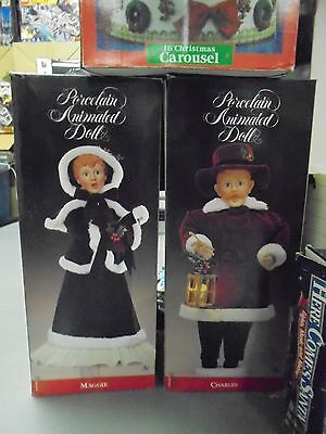 "Santa's Most talented Porcelain Animated Christmas ""CHARLES & MAGGIE"" WORKS! SUPER RARE"