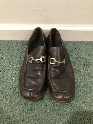 Vintage Gucci Mens Split Toe Horse Bit Slip On Loafers Shoes Sz 8 D Brown Italy