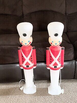 "Two Vintage Christmas Union 30"" Toy Soldier Lighted Blow Mold Yard Decoration"