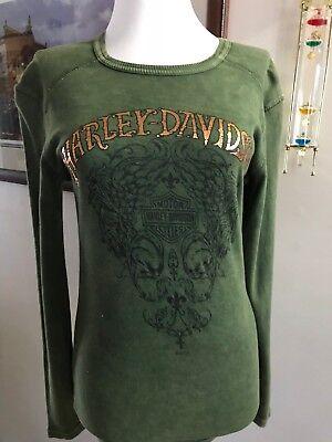 Harley-Davidson Women's Long Sleeve T-Shirts Royal HD Mineral Wash Small - 07 Womens Long Sleeve T-shirts