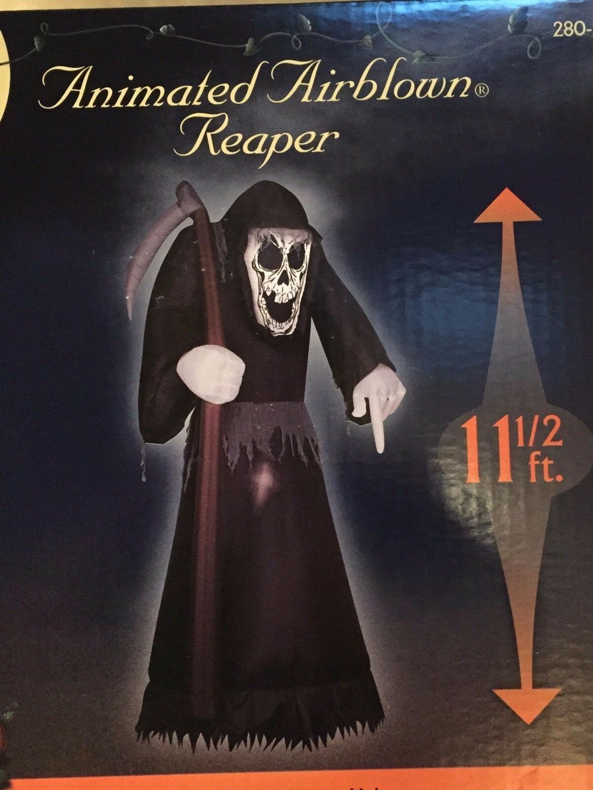 X Tall Gemmy 11 1/2' Halloween Animated Reaper Airblown/inflatable Decor