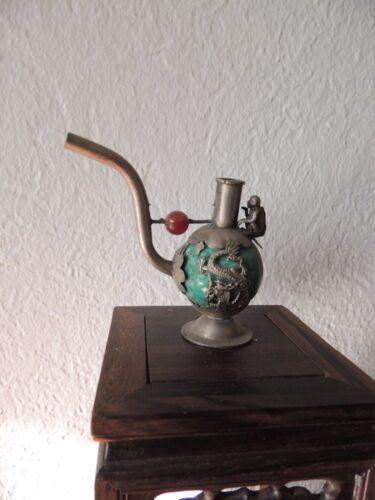 Vintage Oriental//Chinese/Tibet Green Jade Smoking Pipe