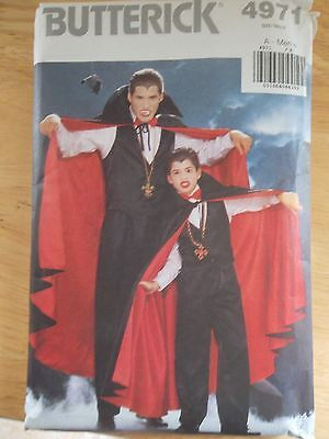 HALLOWEEN Vampire Dracula Costumes Butterick Men Boys  Pattern 4971 Sewing - Easy Vampire Costumes