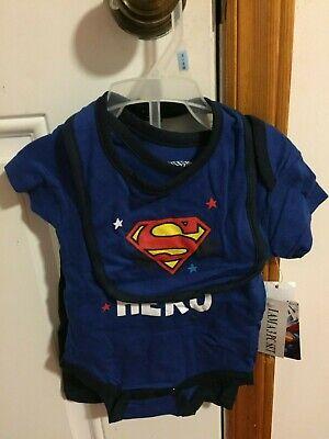 BRAND NEW INFANT BOYS SIZE 3-6 MONTHS 3 PIECE DC COMICS SUPERMAN SHORT SET - Superman Baby