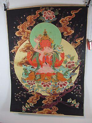 altes Buddha Thangka YAB YUM beim Sex  Seide Tibet orig. 1960  90cm