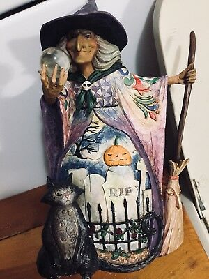 """2007 Jim Shore Witch With Crystal Ball & Black Cat""""WHAT DO I SEE"""" Figurine (Witch With Crystal Ball)"""