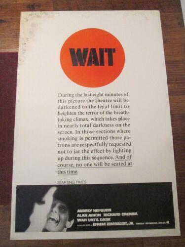 Wait Until Dark   - Original  40 x 60  Movie Poster - Audrey Hepburn